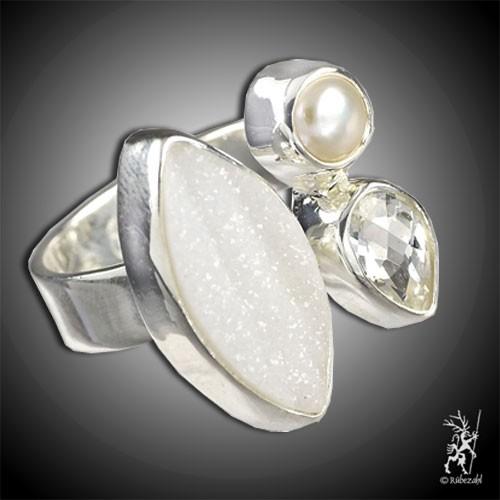 TOPAS ACHAT PERLE Design Echtsilber Ring