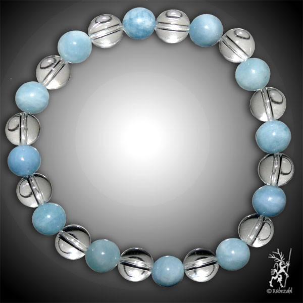 KLARHEIT UND KRAFT Bodyresonanz Armband © (Aquamarin & Bergkristall