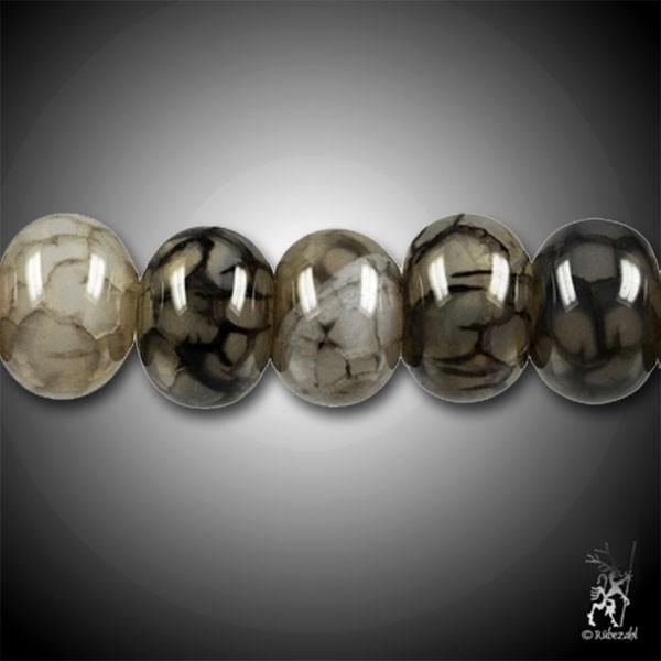 ACHAT Schlangenachat schwarz gefärbt Button Strang 38-40 cm