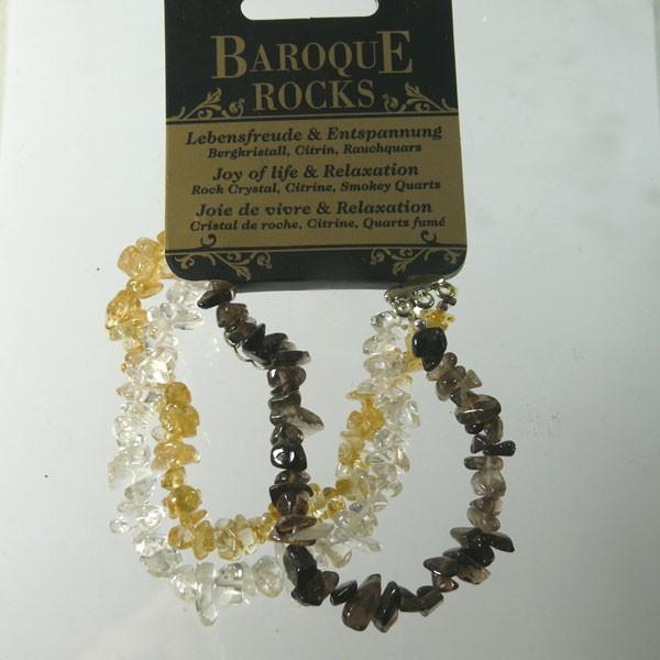 BERGKRISTALL, ZITRIN, RAUCHQUARZ Barock Armband