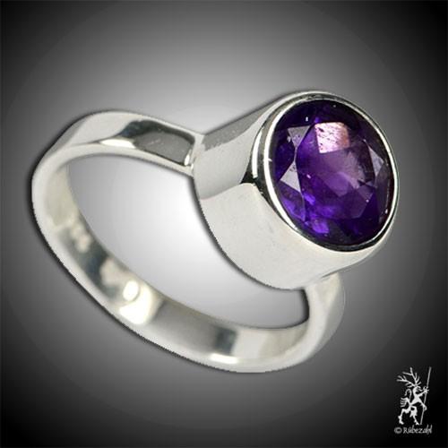 AMETHYST ca. 10 mm facettiert Design Echtsilber Ring