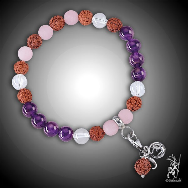 VITAL SPIRIT MALA Amethyst, Bergkristall, Rosenquarz Echtsilber Armband