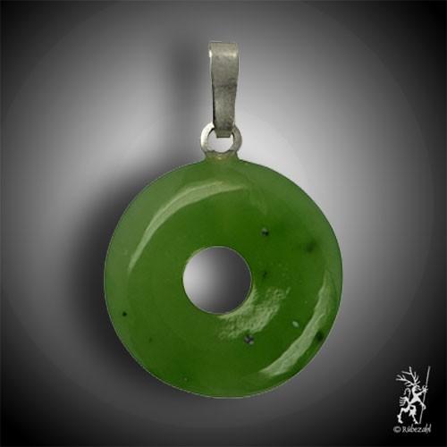 NEPHRIT Jade Donut 15 mm Echtsilber Anhänger