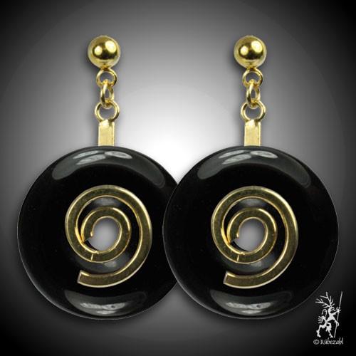 ONYX schwarz Donut Ohrstecker vergoldet