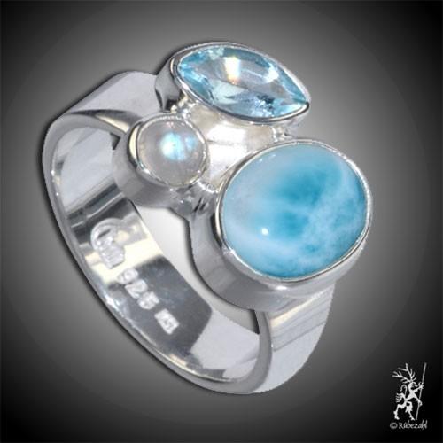 LARIMAR TOPAS LABRADORIT Design Echtsilber Ring