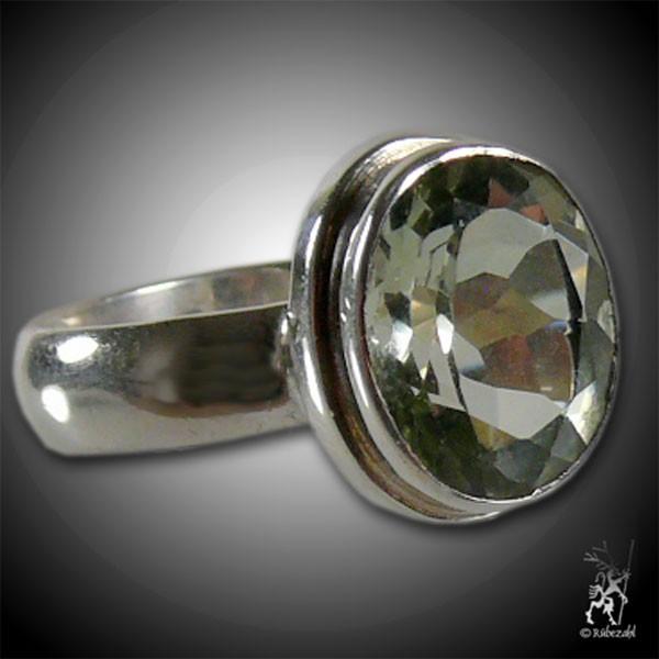 PRASIOLITH facettiert Silber Ring Vario