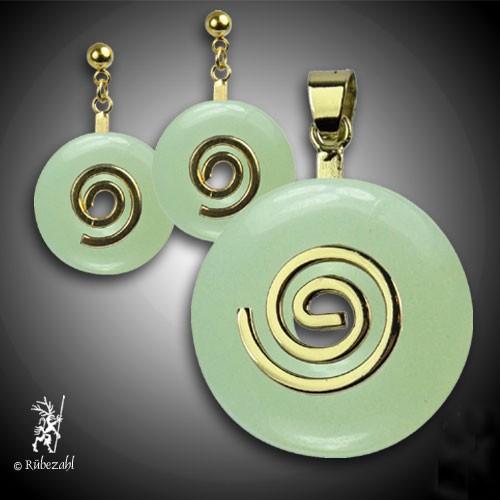 EDELSERPENTIN (China Jade) Donut Anhänger und Ohrstecker SET vergoldet