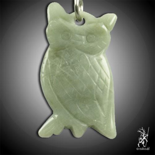 EDELSERPENTIN (China Jade) Eule Schlüsselanhänger
